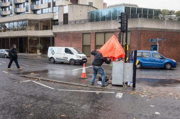 bristol orange umbrella Math Roberts fotogenik collective street photography